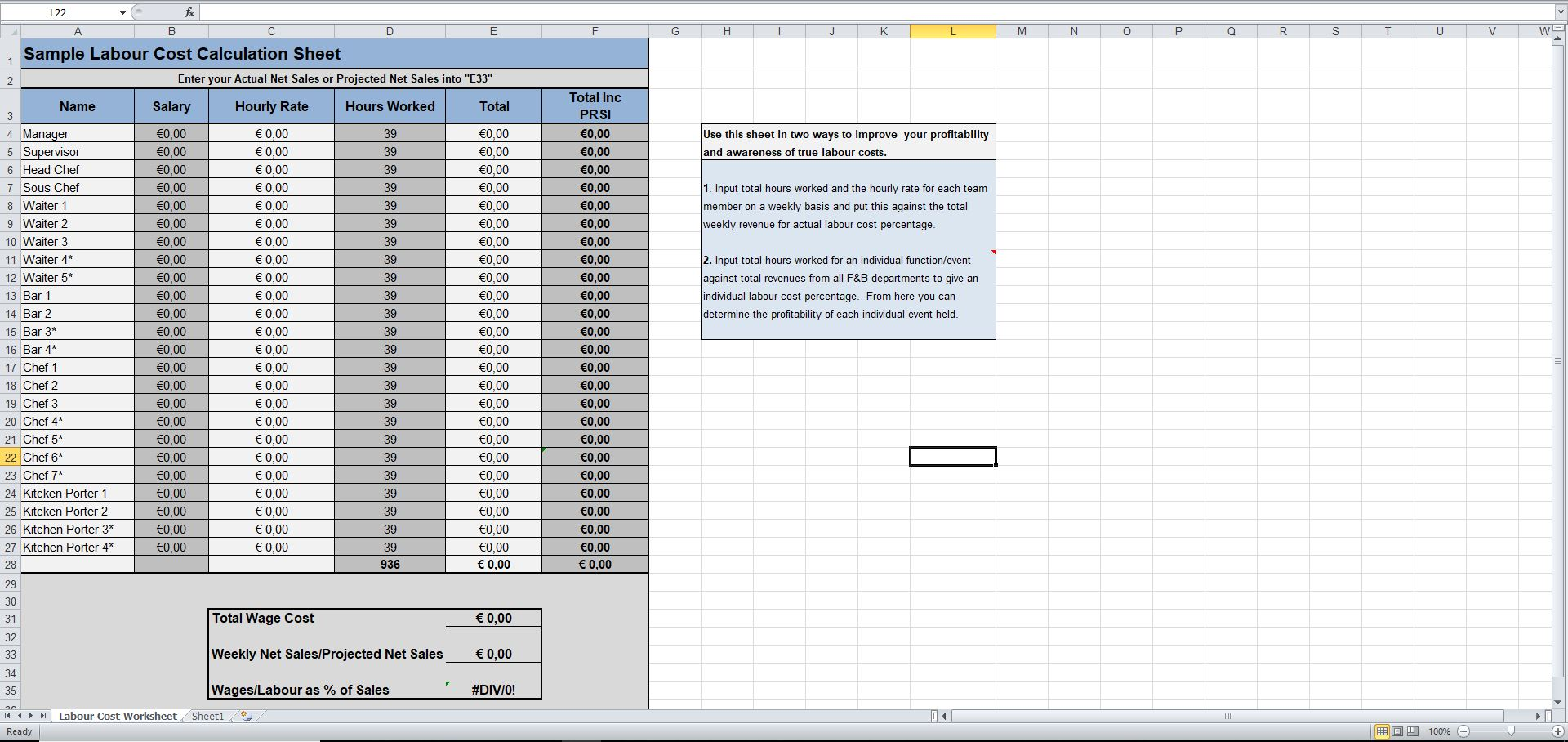 Labour Cost Calculation Excel Template - Eloquens In Job Cost Report Template Excel