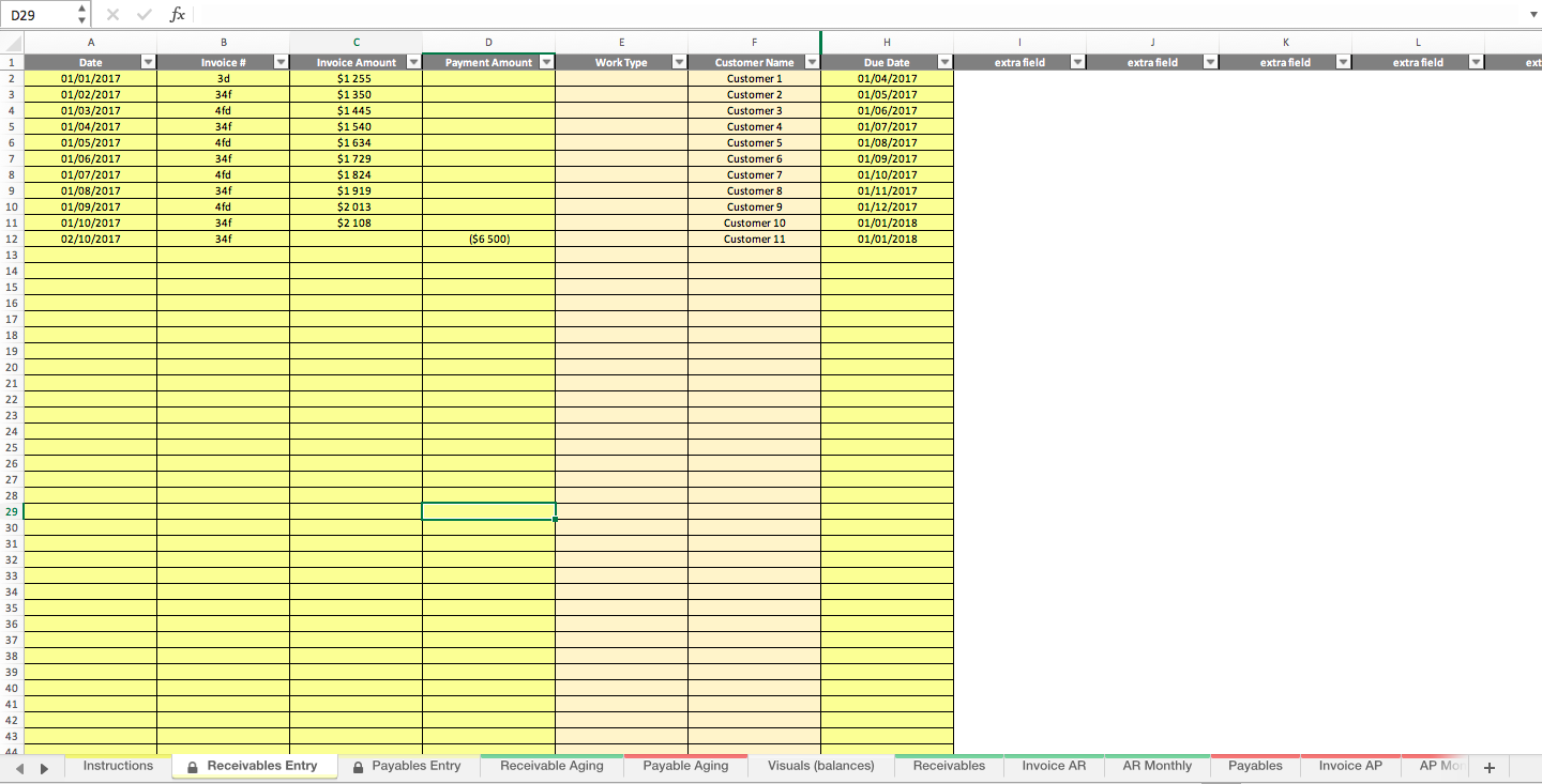 Accounts Receivable and Payable Invoice Tracking Excel Model ...