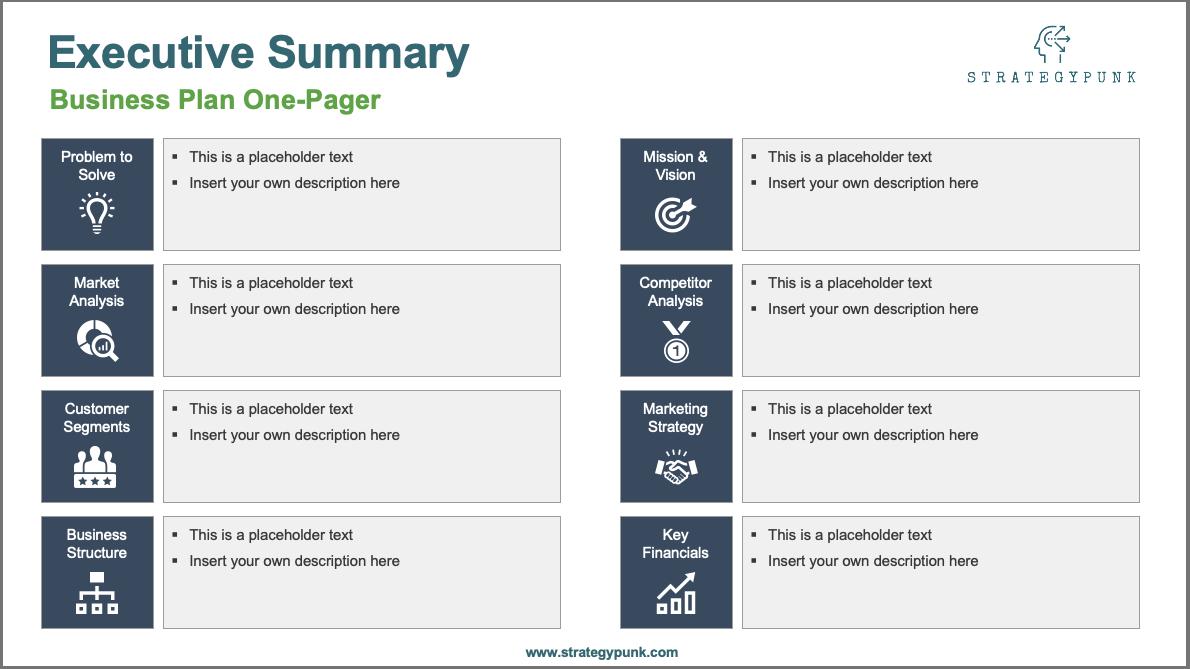 Business Plan One Pager Powerpoint Template   Eloquens